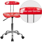 Personalized Vibrant Red and Chrome Swivel Task Chair with Tractor Seat - Task