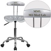 Personalized Vibrant Silver and Chrome Swivel Task Chair with Tractor Seat - Task