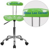 Personalized Vibrant Spicy Lime and Chrome Swivel Task Chair with Tractor Seat - Task