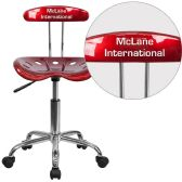 Personalized Vibrant Wine Red and Chrome Swivel Task Chair with Tractor Seat - Task
