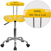 Personalized Vibrant Orange-Yellow and Chrome Swivel Task Chair with Tractor Seat - Task