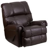 Contemporary Ty Chocolate Leather Rocker Recliner - Recliners