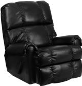 Contemporary Ty Black Leather Rocker Recliner - Recliners