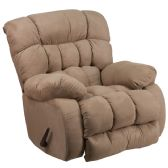 Contemporary Softsuede Taupe Microfiber Rocker Recliner - Recliners