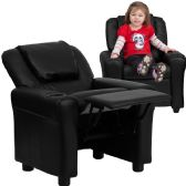 Contemporary Black Leather Kids Recliner with Cup Holder and Headrest - Recliners