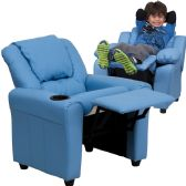Contemporary Light Blue Vinyl Kids Recliner with Cup Holder and Headrest - Recliners