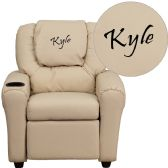 Personalized Beige Vinyl Kids Recliner with Cup Holder and Headrest - Recliners
