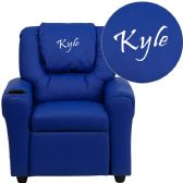 Personalized Blue Vinyl Kids Recliner with Cup Holder and Headrest - Recliners