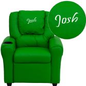 Personalized Green Vinyl Kids Recliner with Cup Holder and Headrest - Recliners