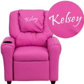 Personalized Hot Pink Vinyl Kids Recliner with Cup Holder and Headrest - Recliners