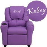 Personalized Lavender Vinyl Kids Recliner with Cup Holder and Headrest - Recliners
