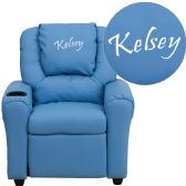 Personalized Light Blue Vinyl Kids Recliner with Cup Holder and Headrest - Recliners