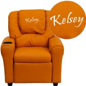 Personalized Orange Vinyl Kids Recliner with Cup Holder and Headrest - Recliners