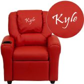 Personalized Red Vinyl Kids Recliner with Cup Holder and Headrest - Recliners