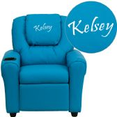 Personalized Turquoise Vinyl Kids Recliner with Cup Holder and Headrest - Recliners