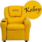 Personalized Yellow Vinyl Kids Recliner with Cup Holder and Headrest - Recliners