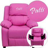 Personalized Deluxe Padded Hot Pink Vinyl Kids Recliner with Storage Arms - Recliners