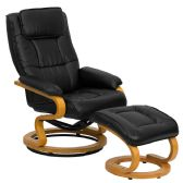 Contemporary Black Leather Recliner and Ottoman with Swiveling Maple Wood Base - Recliners