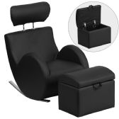 HERCULES Series Black Vinyl Rocking Chair with Storage Ottoman - Rockers