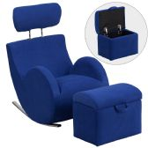 HERCULES Series Blue Fabric Rocking Chair with Storage Ottoman - Rockers