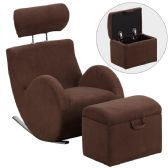 HERCULES Series Brown Fabric Rocking Chair with Storage Ottoman - Rockers
