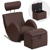 HERCULES Series Brown Vinyl Rocking Chair with Storage Ottoman - Rockers