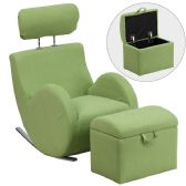 HERCULES Series Green Fabric Rocking Chair with Storage Ottoman - Rockers