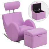 HERCULES Series Lavender Fabric Rocking Chair with Storage Ottoman - Rockers
