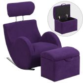 HERCULES Series Purple Fabric Rocking Chair with Storage Ottoman - Rockers
