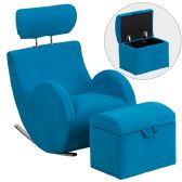 HERCULES Series Turquoise Blue Fabric Rocking Chair with Storage Ottoman - Rockers