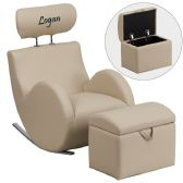 Personalized HERCULES Series Beige Vinyl Rocking Chair with Storage Ottoman - Rockers
