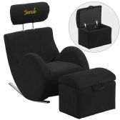 Personalized HERCULES Series Black Fabric Rocking Chair with Storage Ottoman - Rockers