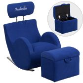 Personalized HERCULES Series Blue Fabric Rocking Chair with Storage Ottoman - Rockers