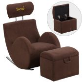 Personalized HERCULES Series Brown Fabric Rocking Chair with Storage Ottoman - Rockers