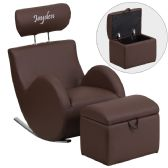 Personalized HERCULES Series Brown Vinyl Rocking Chair with Storage Ottoman - Rockers