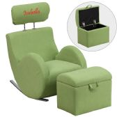 Personalized HERCULES Series Green Fabric Rocking Chair with Storage Ottoman - Rockers
