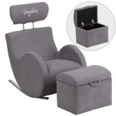 Personalized HERCULES Series Gray Fabric Rocking Chair with Storage Ottoman - Rockers
