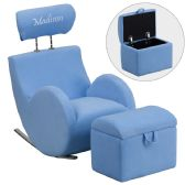 Personalized HERCULES Series Light Blue Fabric Rocking Chair with Storage Ottoman - Rockers