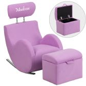 Personalized HERCULES Series Lavender Fabric Rocking Chair with Storage Ottoman - Rockers