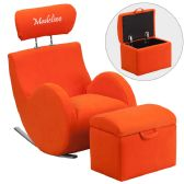 Personalized HERCULES Series Orange Fabric Rocking Chair with Storage Ottoman - Rockers