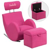 Personalized HERCULES Series Pink Fabric Rocking Chair with Storage Ottoman - Rockers