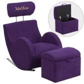 Personalized HERCULES Series Purple Fabric Rocking Chair with Storage Ottoman - Rockers