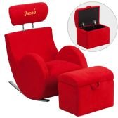 Personalized HERCULES Series Red Fabric Rocking Chair with Storage Ottoman - Rockers