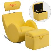 Personalized HERCULES Series Yellow Fabric Rocking Chair with Storage Ottoman - Rockers