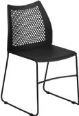 HERCULES Series 661 lb. Capacity Black Sled Base Stack Chair with Air-Vent Back - Stack
