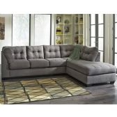 Benchcraft Maier Sectional with Right Side Facing Chaise in Charcoal Microfiber - Sectionals