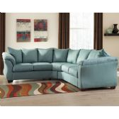Signature Design by Ashley Darcy Sectional in Sky Microfiber - Sectionals