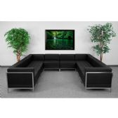 HERCULES Imagination Series Black Leather U-Shape Sectional Configuration, 10 Pieces - Sectionals