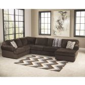 Signature Design by Ashley Jessa Place Sectional in Chocolate Fabric - Sectionals