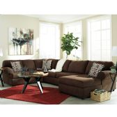 Signature Design by Ashley Jayceon 3-Piece LAF Sofa Sectional in Java Fabric - Sectionals